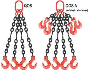 9//32 x 6 Quad Leg with Grab Hooks Grade 100 Chain Sling